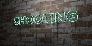 Het SCHIETEN - Gloeiend Neonteken op metselwerkmuur - 3D teruggegeven royalty vrije voorraadillustratie Royalty-vrije Stock Foto's