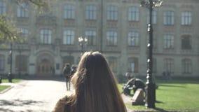 Het schieten van achter, mooie Kaukasische vrouw loopt vooruit in zich stedelijk stadsgebied, het zonnige aardige weer en bewegen stock footage