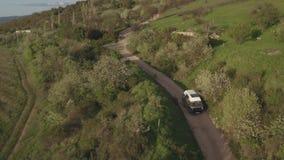 Het schieten van de auto van de luchttoerist het drijven op een mooie boom gevoerde landweg stock footage