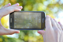 Het schieten van de herfst met smartphone Stock Afbeelding