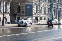 Het schieten van de historische film op de straat van St. Petersburg op 24 Maart, 2016 Stock Afbeelding