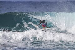 Het schieten van de krul bij Honolua-Baai op Maui stock afbeeldingen