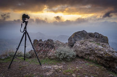 Het schieten van de tijdspanne van de zonsondergangtijd royalty-vrije stock foto
