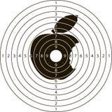 Het schieten van doel gebeten Apple Stock Foto's