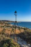 Het schieten van sferische panoramas bij Kalamaki-strand royalty-vrije stock afbeelding