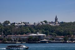 Het schieten van Topkapi-Paleis over het overzees royalty-vrije stock afbeeldingen