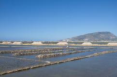 Zoute mijnen, Trapan, Sicilië Stock Afbeeldingen