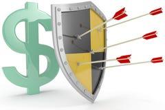 Het schild beschermt de veilige veiligheid van het Amerikaanse dollargeld Stock Afbeeldingen