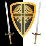 Het schild en de zwaarden van de fantasie Stock Afbeelding