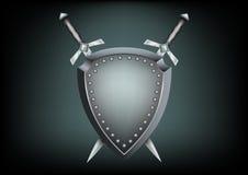 Het schild en de zwaarden van de veiligheid Stock Fotografie
