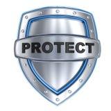 Het schild en het teken beschermen Stock Afbeeldingen