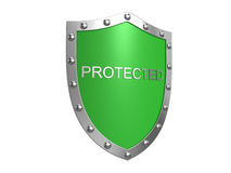 Het schild van de bescherming. Geïsoleerdi op het wit Stock Fotografie