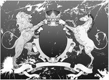 Het Schild van de Leeuw en van de Eenhoorn van Grunge Stock Afbeeldingen