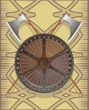 Het schild van de slag met assen Stock Afbeelding