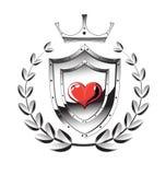 Het schild van het hart, kroon Stock Afbeelding