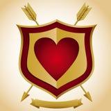 Het Schild van het hart met Pijlen Stock Fotografie