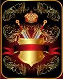 Het schild van het kanon met kroon en goud Stock Foto