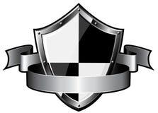 Het schild van het staal met lint vector illustratie