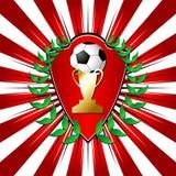 Het schild van het voetbal met laurier stock illustratie