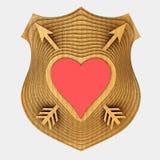 Het schildembleem wordt gestileerd aan het hart 3D Illustratie Royalty-vrije Stock Foto's
