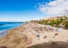 Het schilderachtige strand van Gr Duque in Tenerife royalty-vrije stock foto's