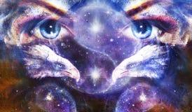 Het schilderen adelaars met vrouwenogen op abstracte achtergrond en Yin Yang Symbol in ruimte met sterren Vleugels om te vliegen stock illustratie