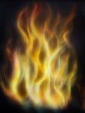 Het schilderen Brand op zwarte achtergrond, Luchtpenseel het schilderen Het schilderen op hout Stock Fotografie