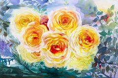 Het schilderen de oranje, gele kleur van de kunstwaterverf van de rozen Royalty-vrije Stock Foto