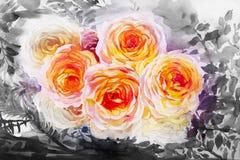 Het schilderen de oranje, gele kleur van de kunstwaterverf van de rozen Stock Foto