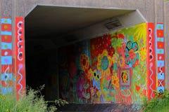 Het schilderen in de tunnel royalty-vrije stock afbeeldingen