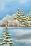 Het schilderen, de winterbos Royalty-vrije Stock Afbeeldingen