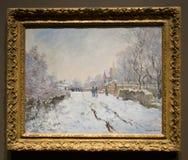 Het schilderen door Claude Monet in het National Gallery in Londen royalty-vrije stock afbeeldingen