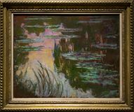 Het schilderen door Claude Monet in het National Gallery in Londen Royalty-vrije Stock Afbeelding