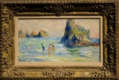 Het schilderen door Pierre-Auguste Renoir in het National Gallery in Londen Stock Foto
