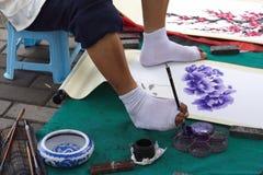 Het schilderen door voet stock foto's
