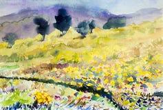 Het schilderen het landschaps originele kleurrijk van de kunstwaterverf van bloemen Stock Foto