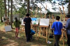 Het schilderen in het park Royalty-vrije Stock Afbeeldingen