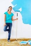 Het schilderen het portret van de muurvrouw Royalty-vrije Stock Afbeelding