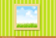 Het schilderen in houten frame op de groene muur.   Stock Fotografie