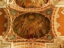 Het schilderen in Jezuïetkerk Innsbruck stock afbeelding