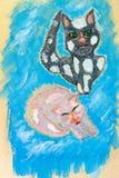 Het schilderen katten Royalty-vrije Stock Afbeeldingen