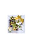 Het schilderen met bloemen op geïsoleerde achtergrond met bezinning Stock Foto's