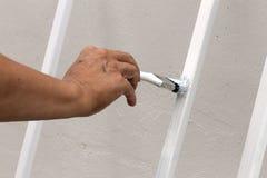 Het schilderen met borstel Stock Foto
