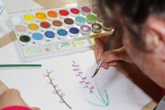 Het schilderen met waterverf Stock Afbeelding