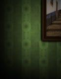 Het schilderen op groene muur Royalty-vrije Stock Foto's