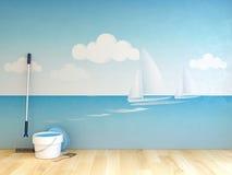 Het schilderen op muur Stock Afbeelding