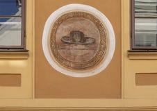 Het schilderen op muur Cesky die Krumlov Heilige Jacob eren stock foto's