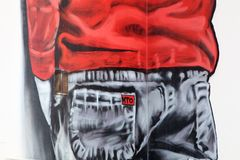 Het schilderen op muur van de bouw van straat art4 Stock Fotografie