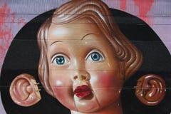 Het schilderen op muur van de bouw van straatart. Stock Foto's