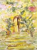 Het schilderen op zijde. De poorten van de tuin met treden en bloemen. stock illustratie